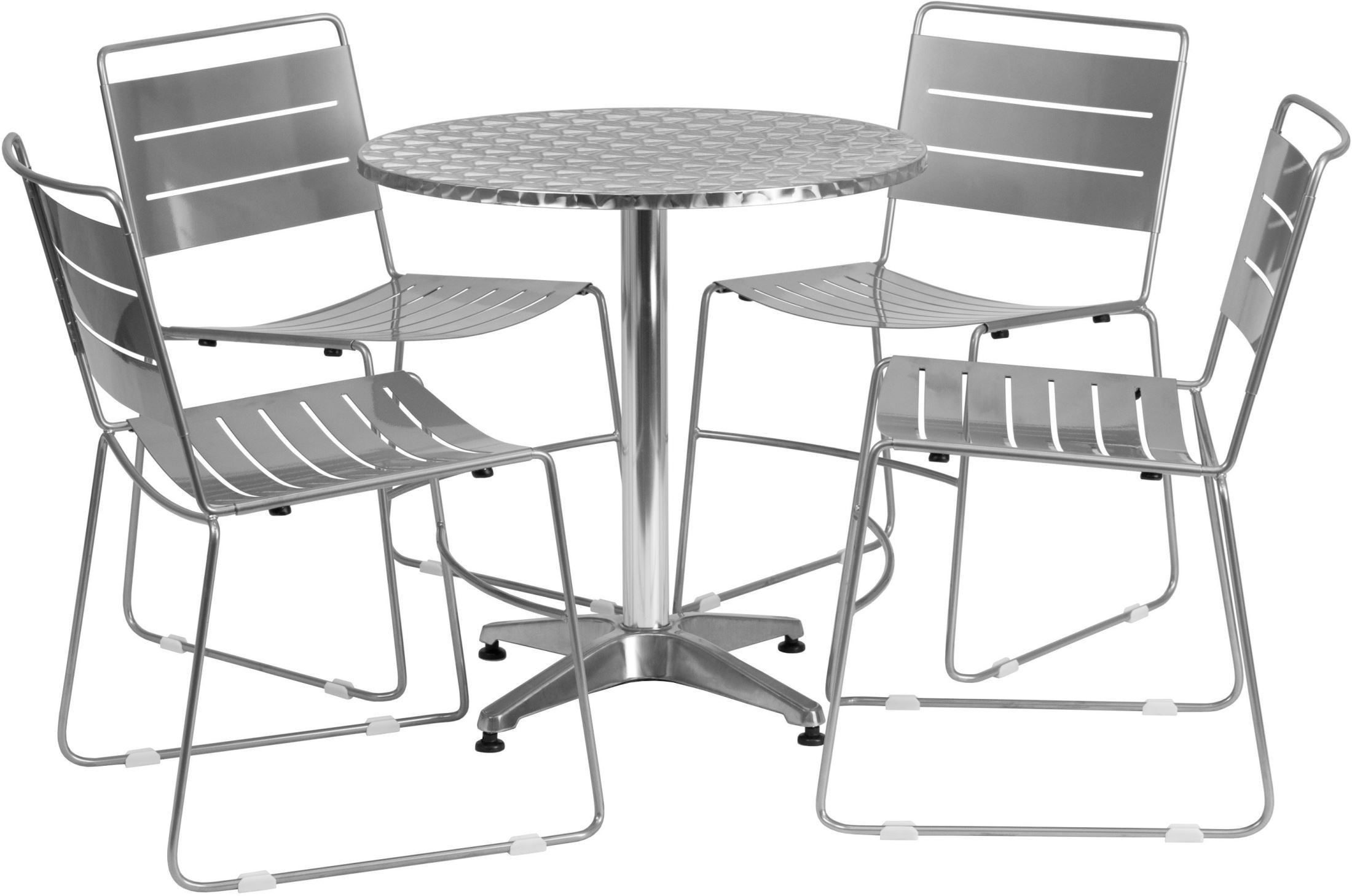 metal stacking chairs outdoor strathwood anti gravity chair 27 5 quot round aluminum indoor table with 4 silver