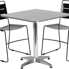 Metal Stacking Chairs Outdoor Steel Chair With Armrest 27 5 Quot Square Aluminum Indoor Table 2 Black