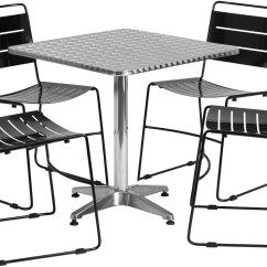 Metal Stacking Chairs Outdoor 27 5 Quot Square Aluminum Indoor Table With 4 Black
