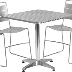 Metal Stacking Chairs Outdoor Aeron Chair Singapore 27 5 Quot Square Aluminum Indoor Table With 2 Silver