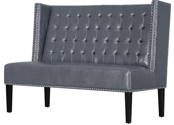Halifax Grey Leather Banquette Bench