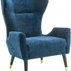Navy Blue Velvet Club Chair King And Queen Chairs Logan From Tov Coleman Furniture