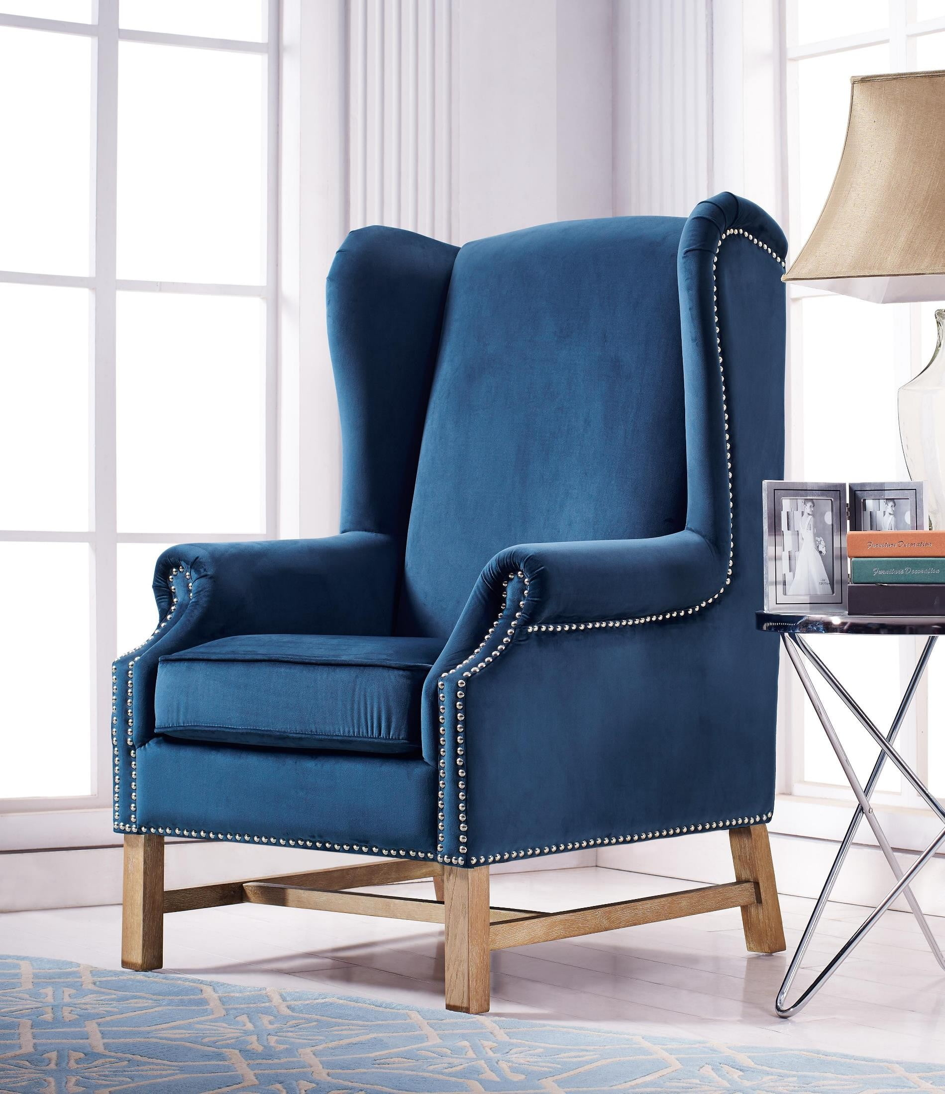 navy blue velvet club chair and a half glider rocker nora from tov a2042 coleman furniture