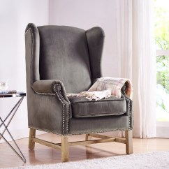 Grey Wing Chair Wheelchair Lights Nora Velvet From Tov A2043 Coleman Furniture