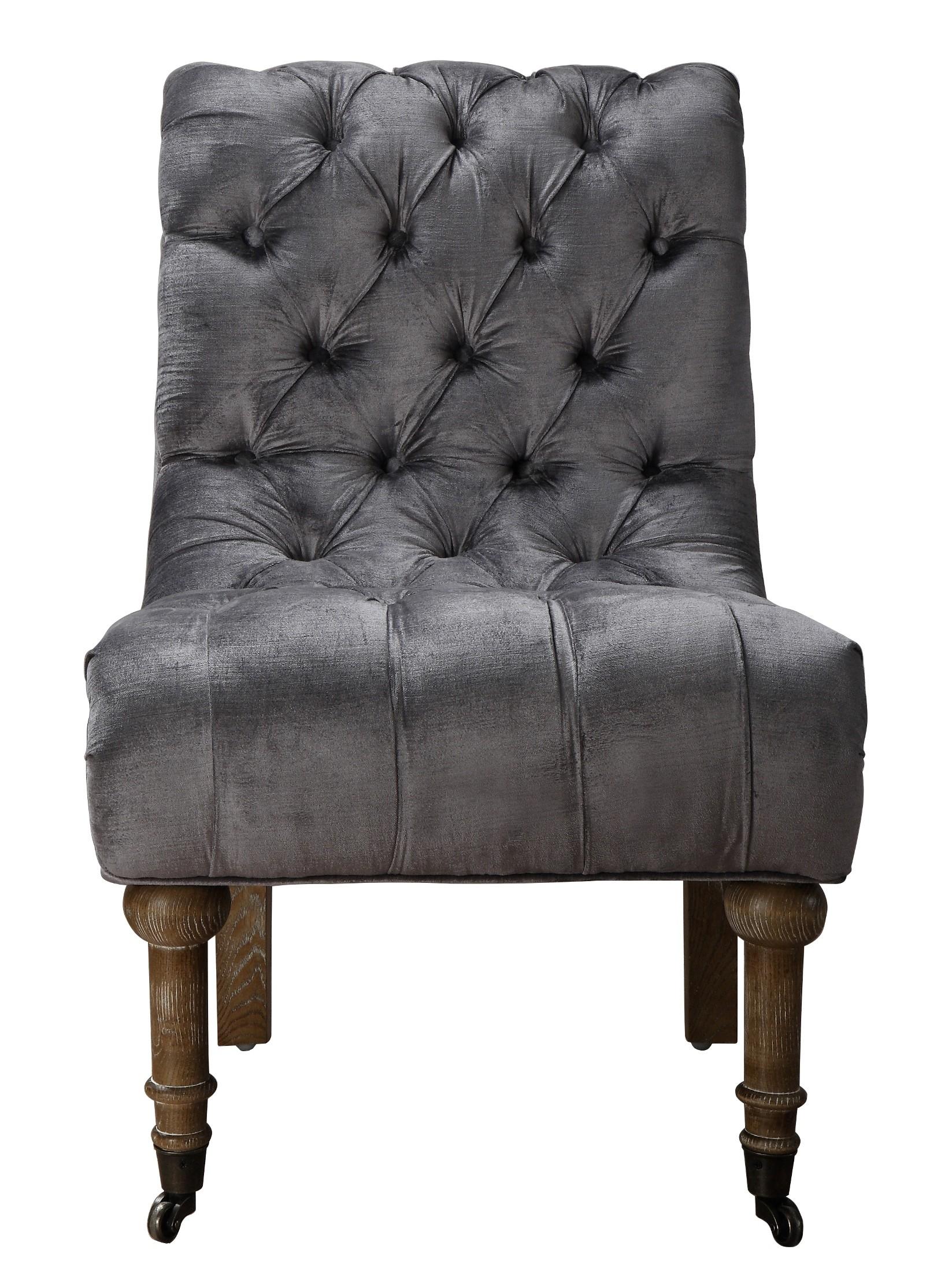 grey velvet slipper chair canopy camping vivi from tov a41