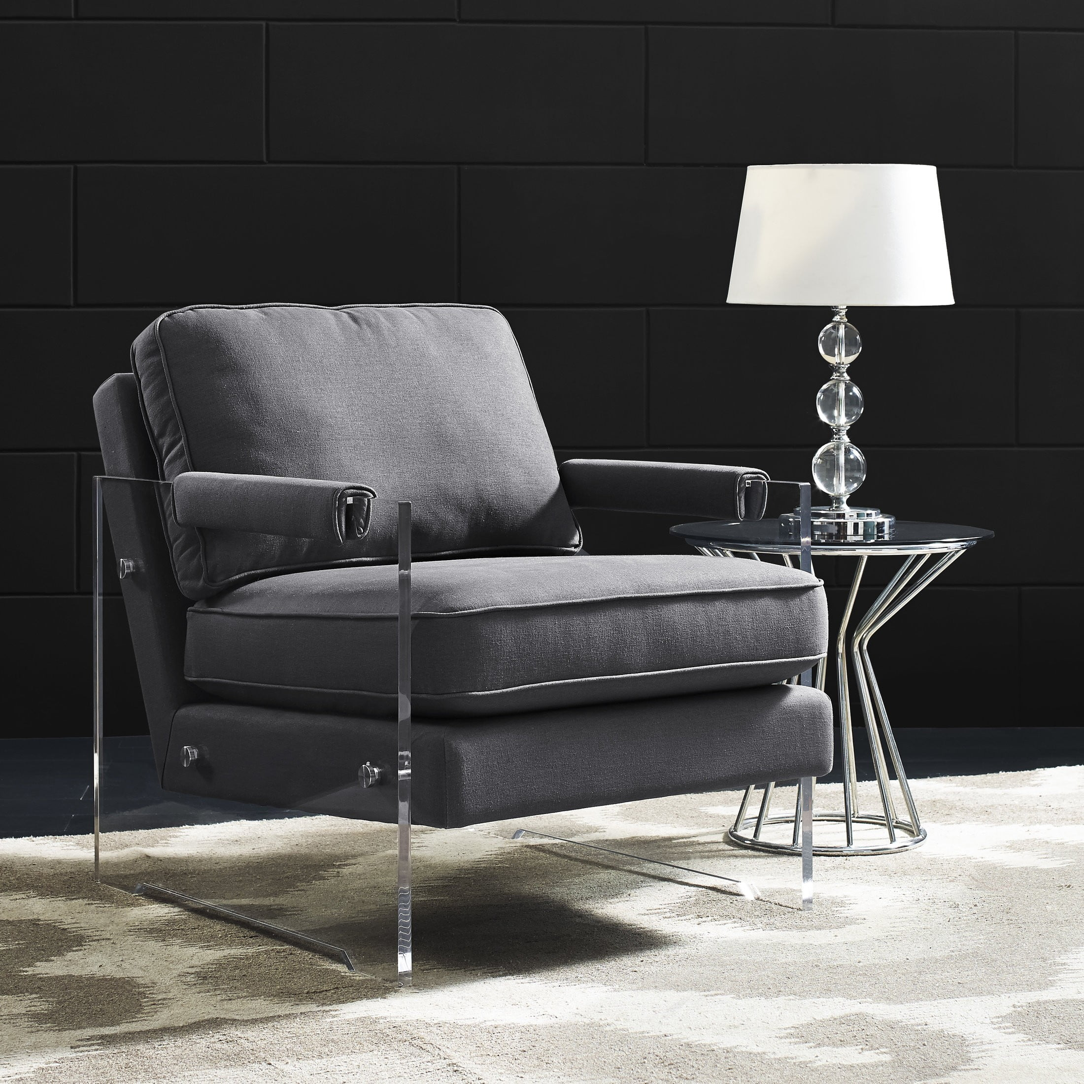 Serena Dark Grey Floating Lucite Chair from TOV A71