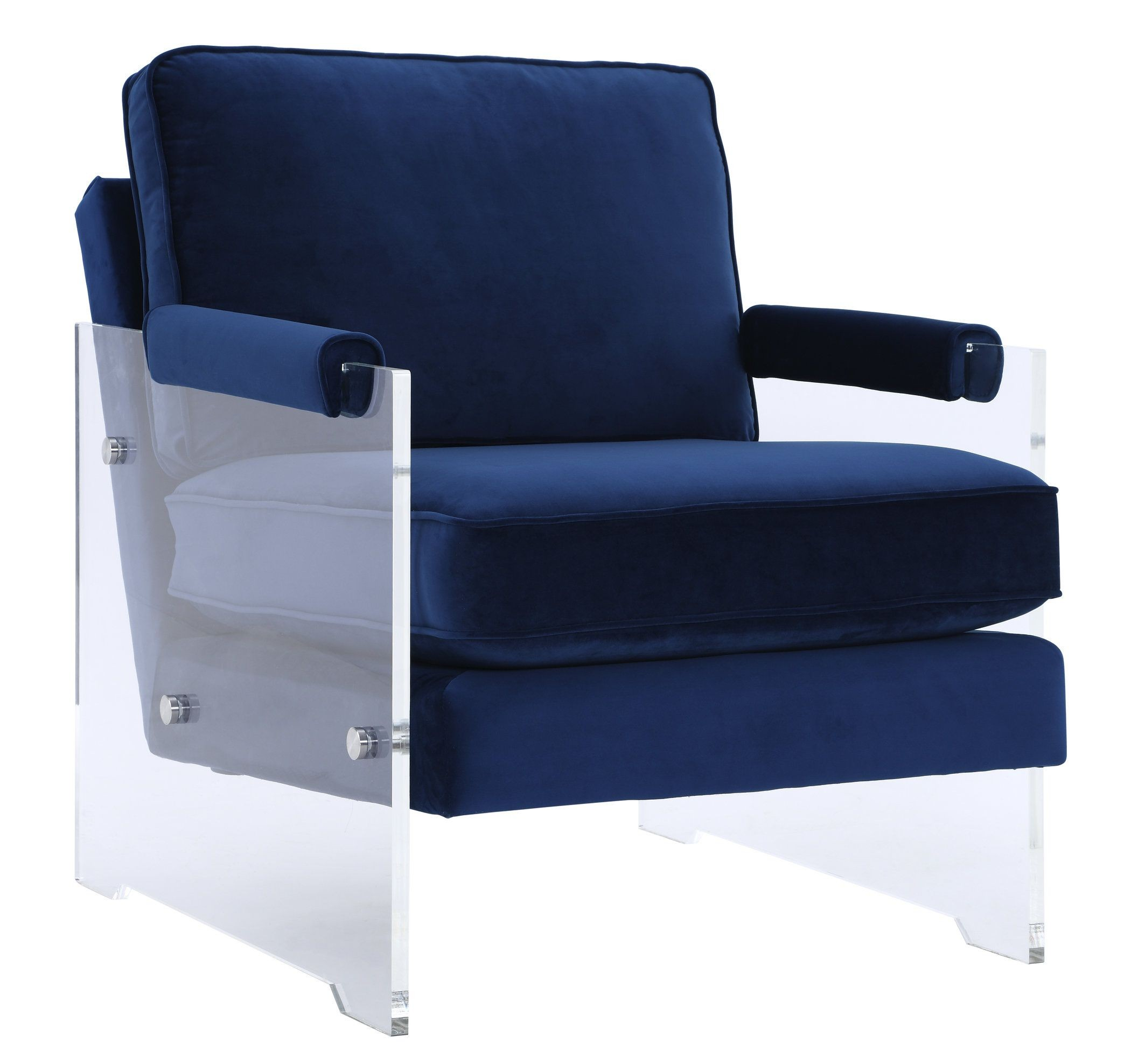 Serena Navy Velvet and Lucite Chair from TOV  Coleman