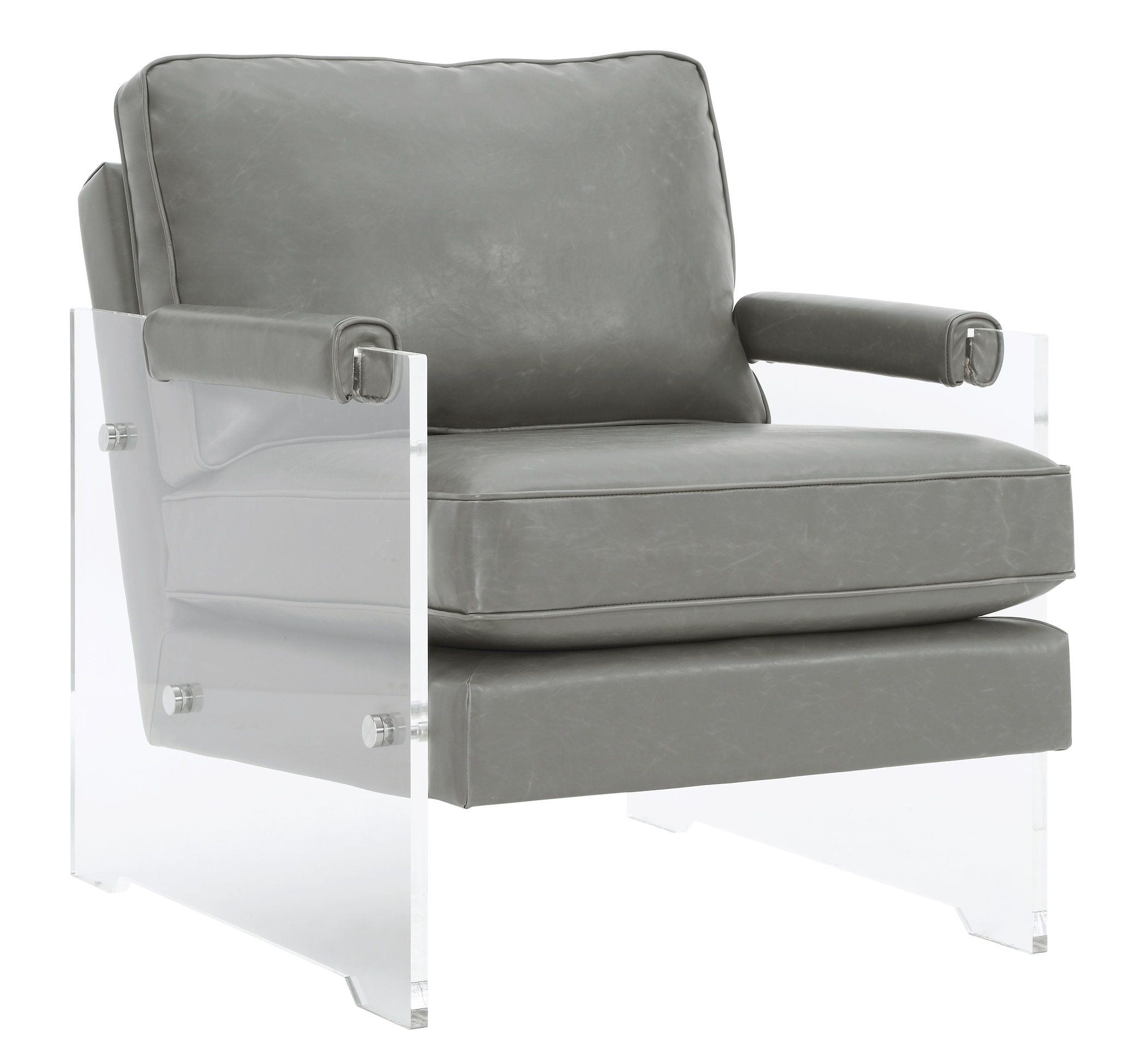 Acrylic Chair Serena Grey Eco Leather And Lucite Chair From Tov
