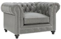 Durango Rustic Grey Leather Club Chair, C53, TOV Furniture