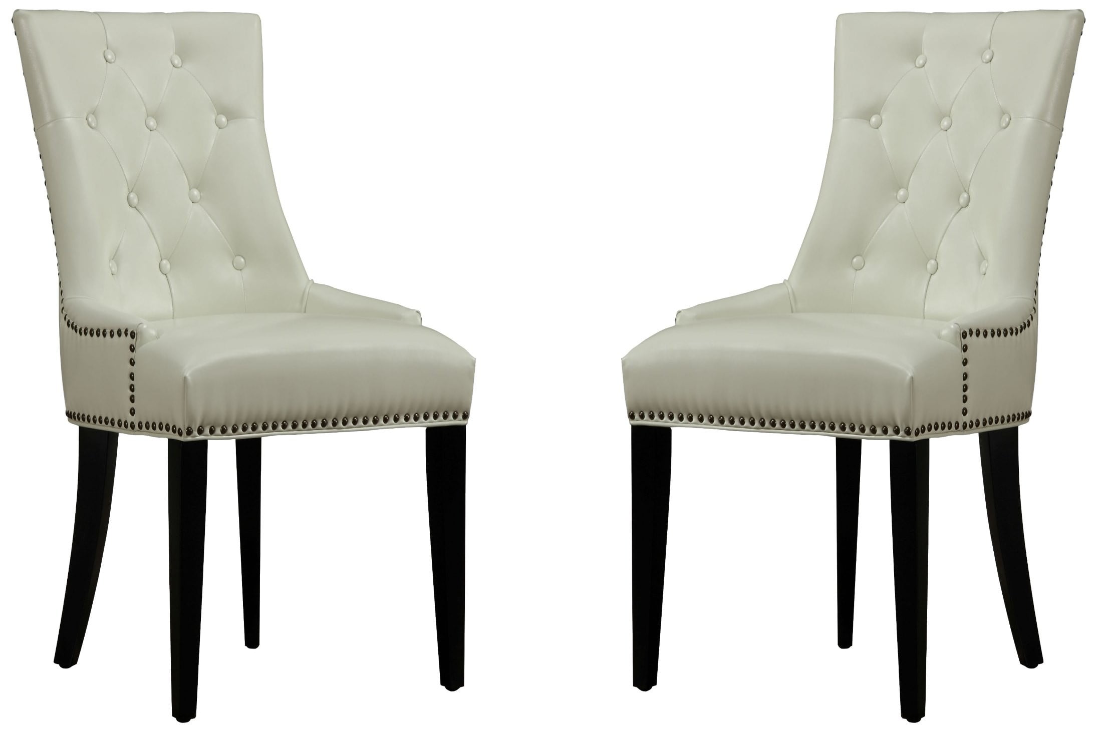 Cream Chairs Uptown Cream Leather Dining Chair Set Of 2 From Tov D29