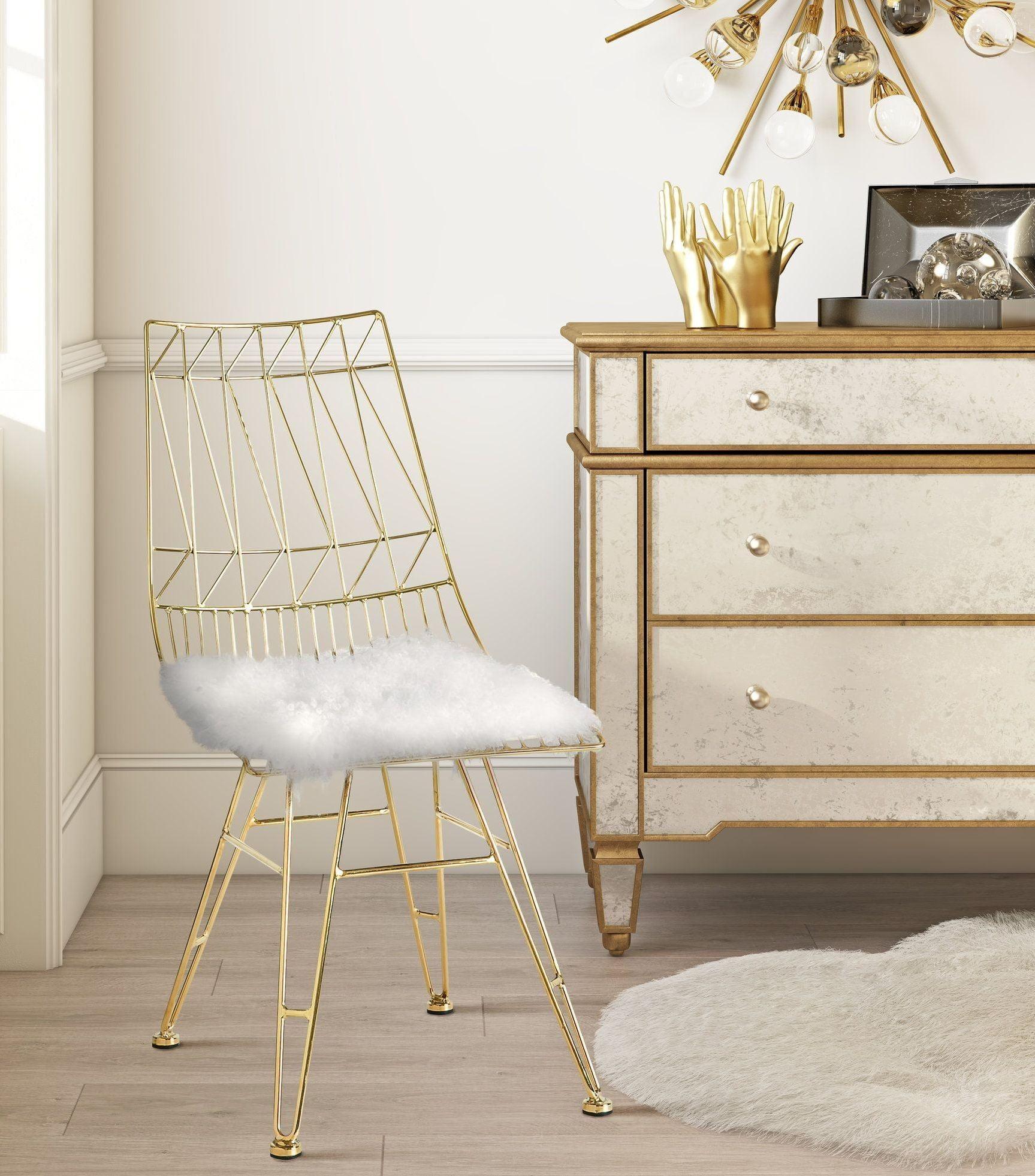 steel chair with cushion iron throne cover allure white sheepskin g7212 g7213