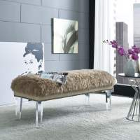 Luxe Brown Sheepskin Lucite Bench from TOV (TOV-O24 ...