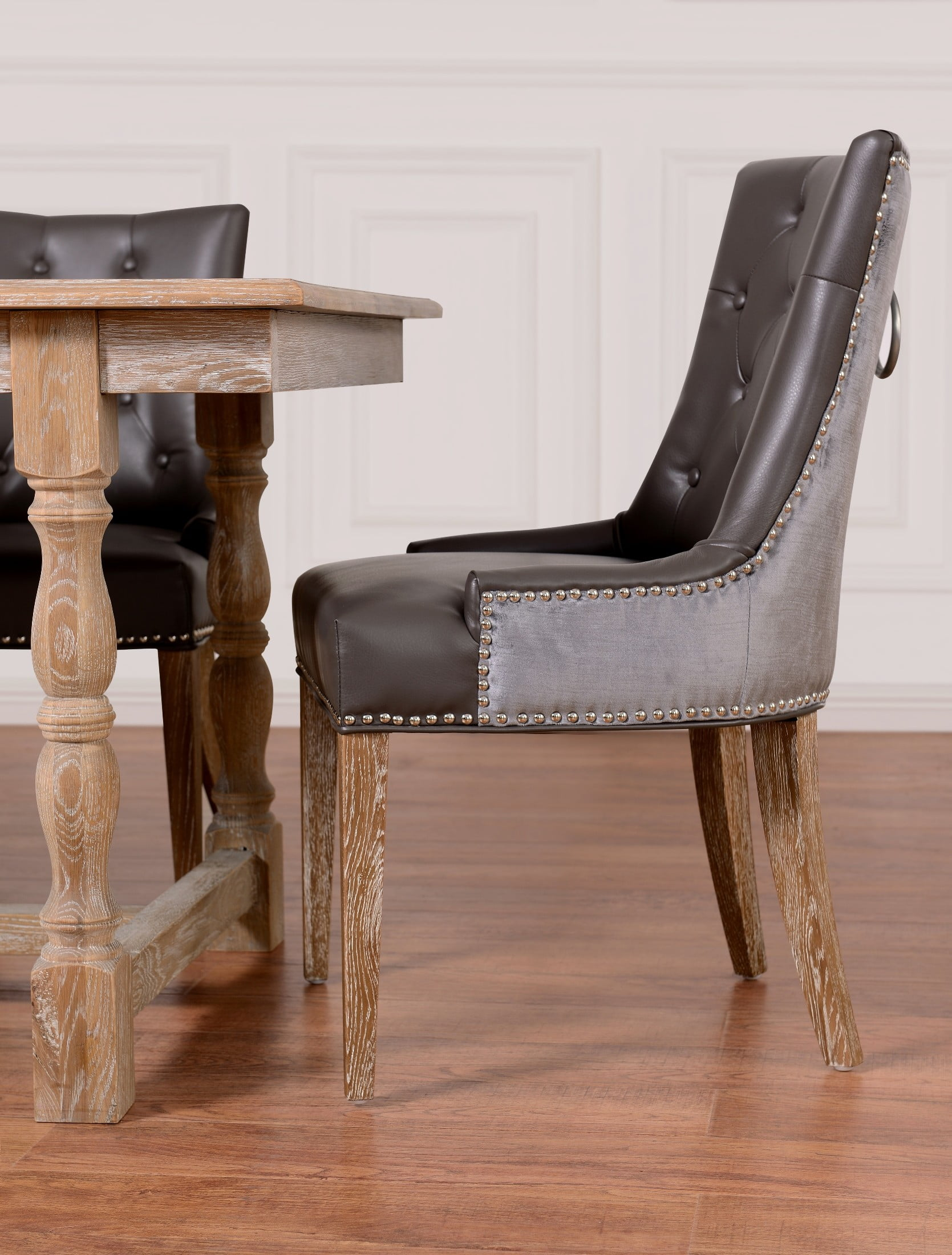 Grey Velvet Dining Chairs Uptown Leather Velvet Dining Chair Set Of 2 From Tov Upt