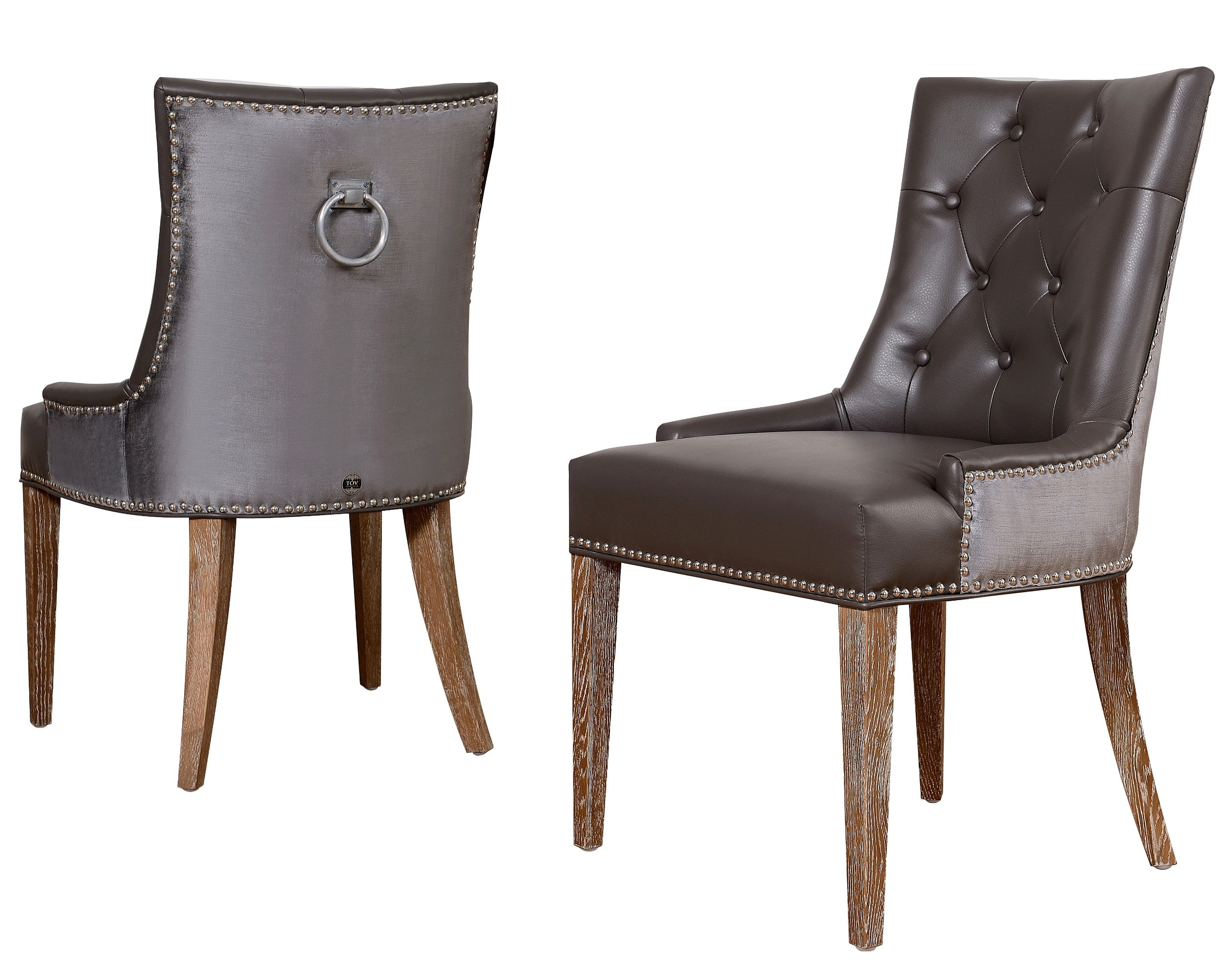 Dining Room Chairs Leather Uptown Leather Velvet Dining Chair Set Of 2 From Tov Upt