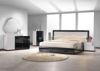 Turin Light Grey and Black Lacquer Platform Bedroom Set ...