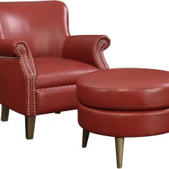 Red Chair And Ottoman Modern Chaise Lounge Oscar Accent From Emerald Home