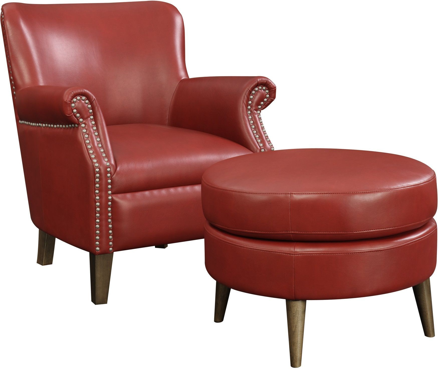Red And White Accent Chair Oscar Red Accent Chair And Ottoman From Emerald Home