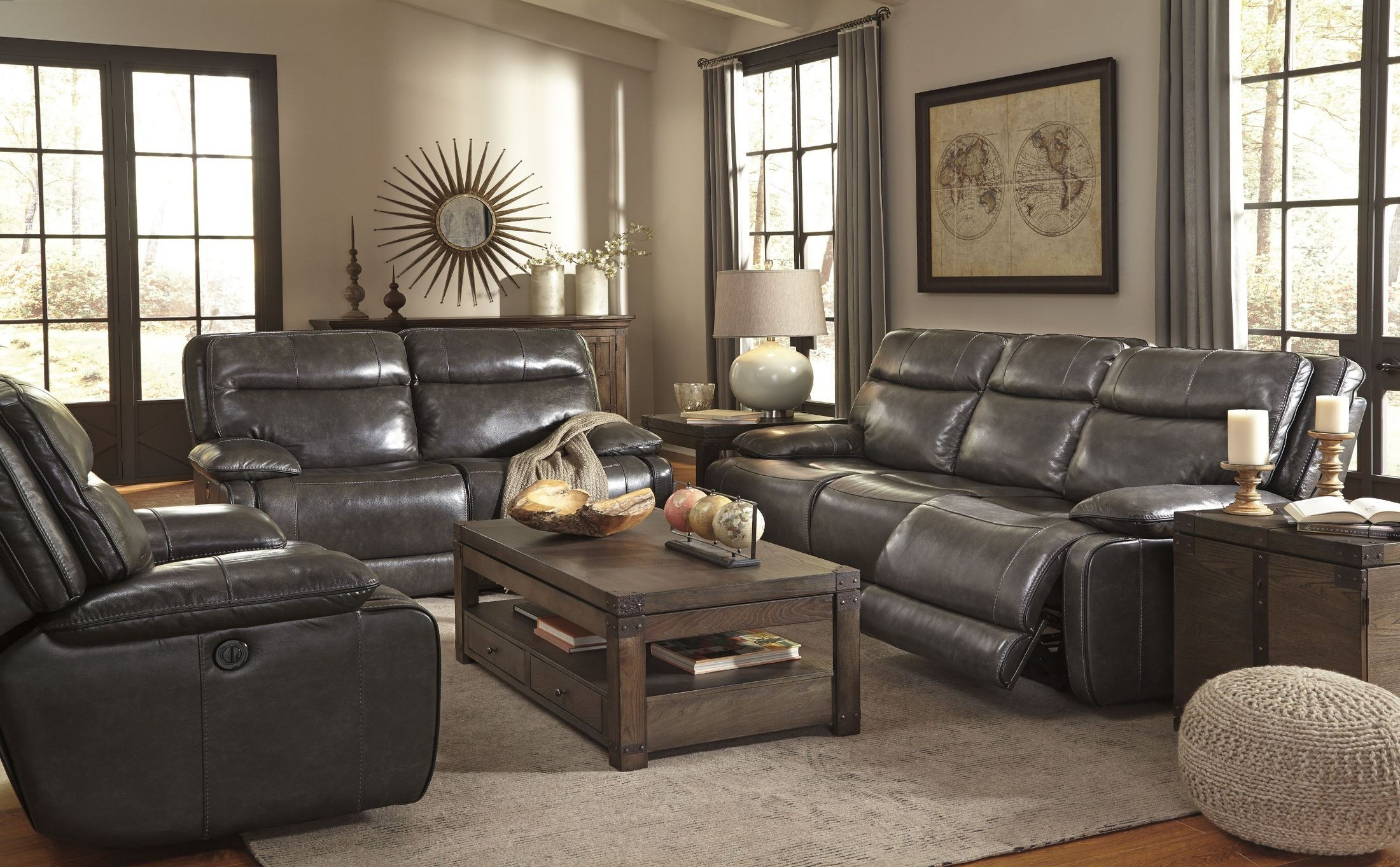 modern power reclining sofa what is the best leather to buy palladum metal living room set from ashley ...