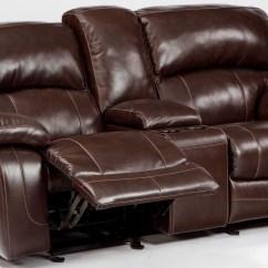 Glider Sofa New England Leather Damacio Dark Brown Reclining Loveseat With Console