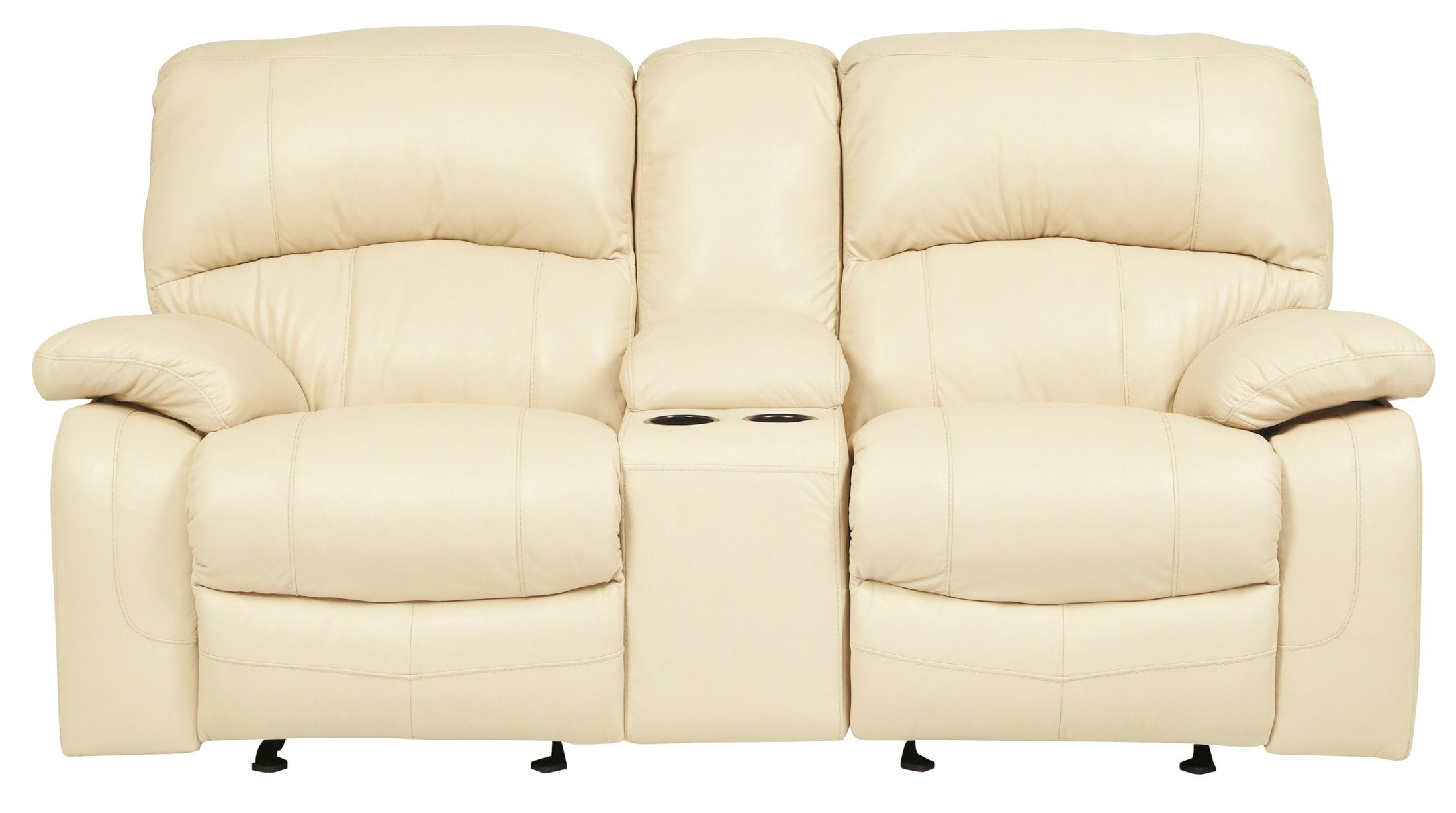glider sofa leather repair montreal damacio cream reclining loveseat with console from