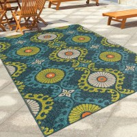 Orian Rugs Indoor/Outdoor Scroll Medallion Kokand Blue ...