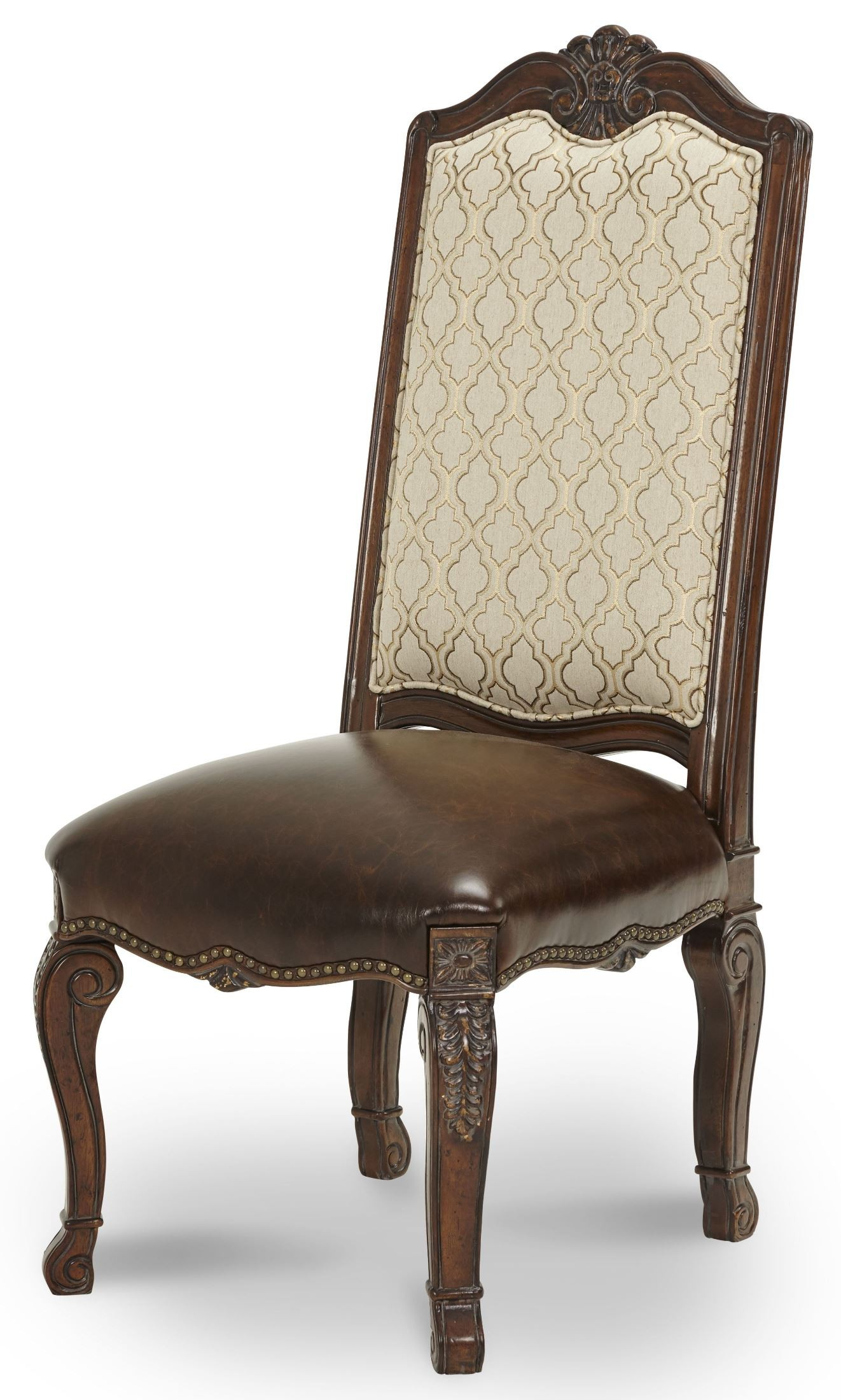 Leather Side Chair Victoria Palace Fabric Back Side Chair With Leather Seat