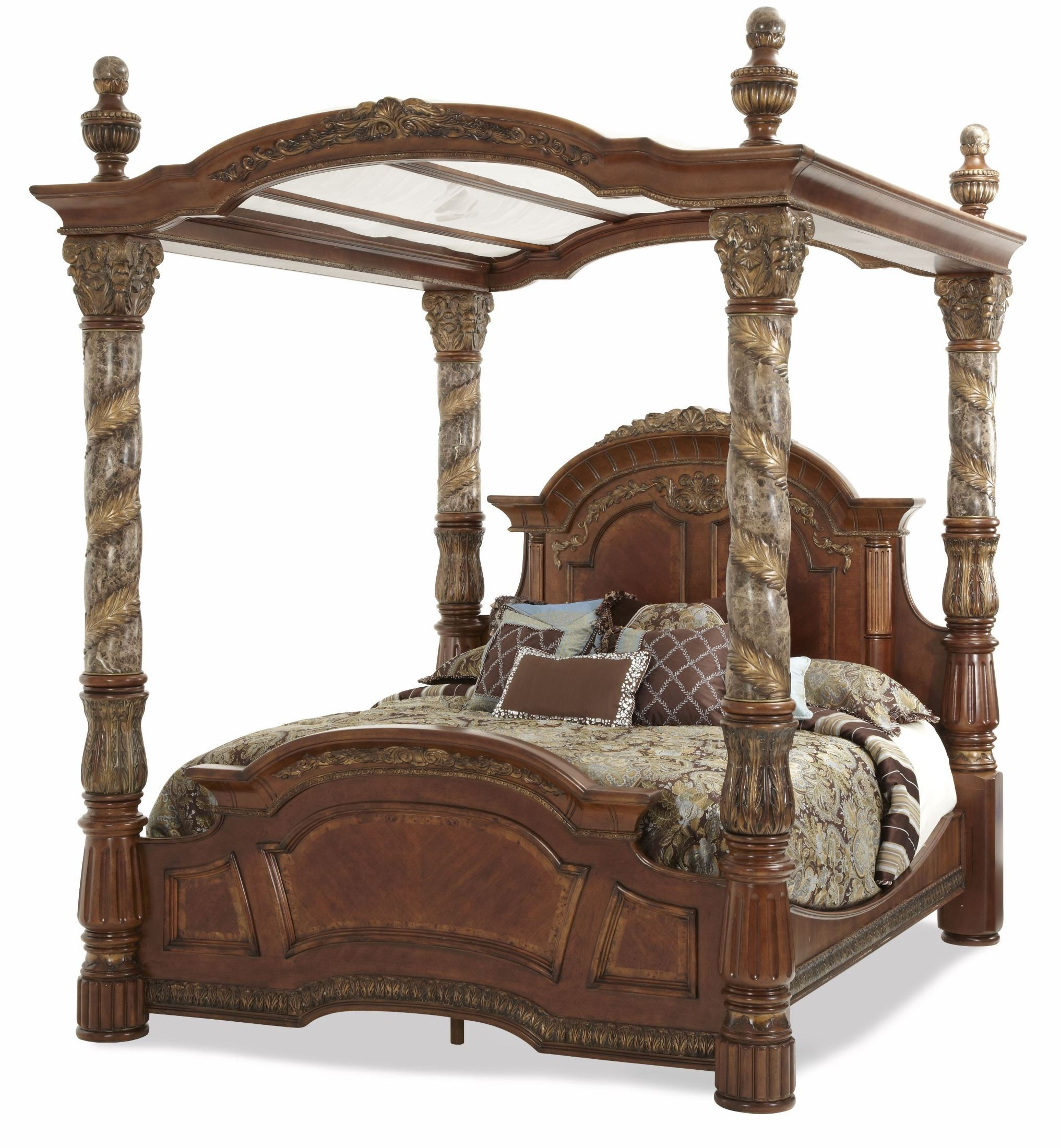 Villa Valencia Cal King Poster Canopy Bed From Aico