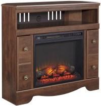 Brittberg Reddish Brown Corner TV Stand with Fireplace ...