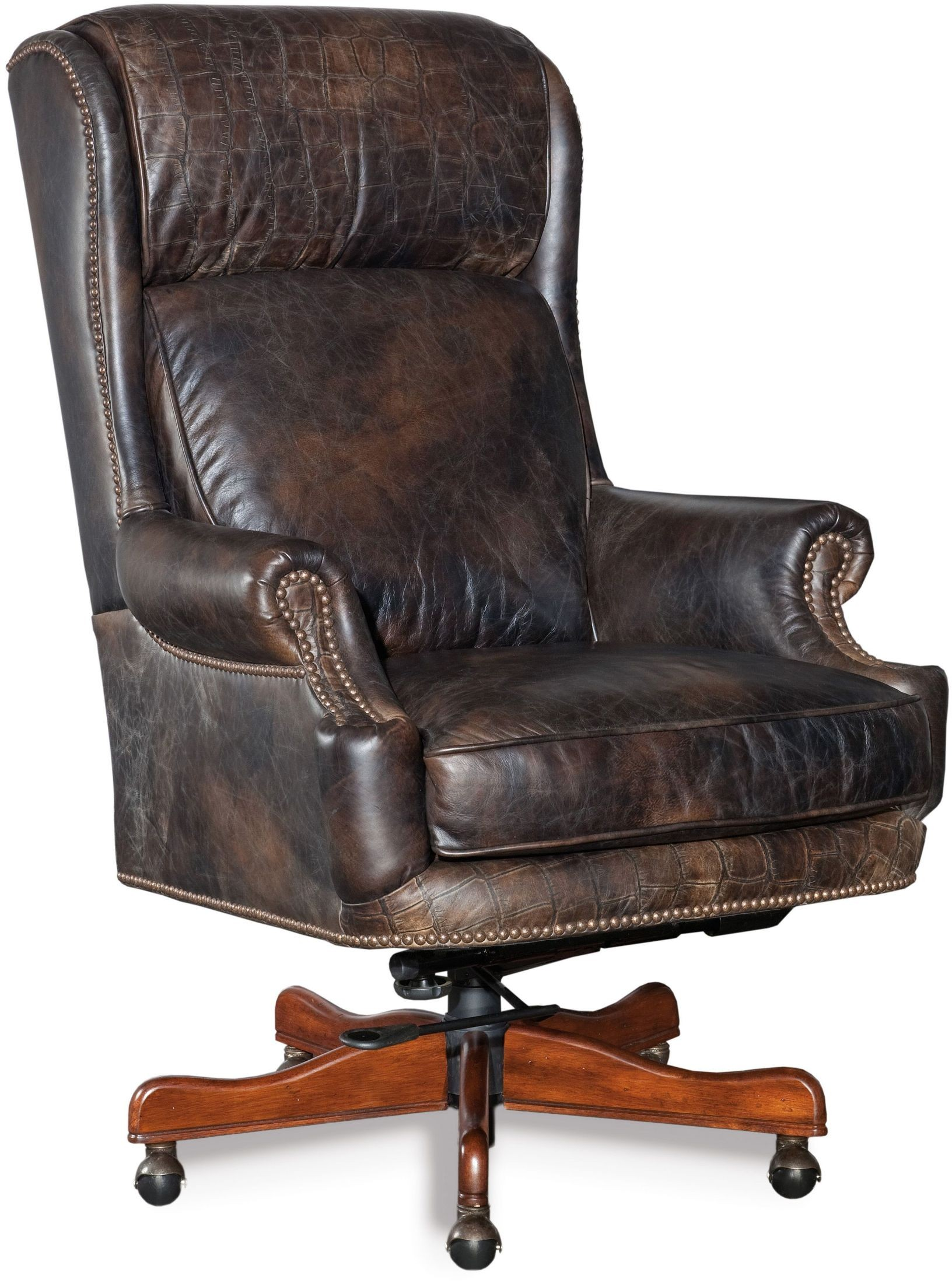 swivel chair brown glider repair tucker leather executive tilt from