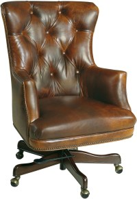 Bradley Dark Walnut Leather Executive Swivel Tilt Chair ...