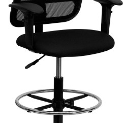 Drafting Chairs With Arms Posture Care Chair Prices Mid Back Stool Black Fabric Seat And