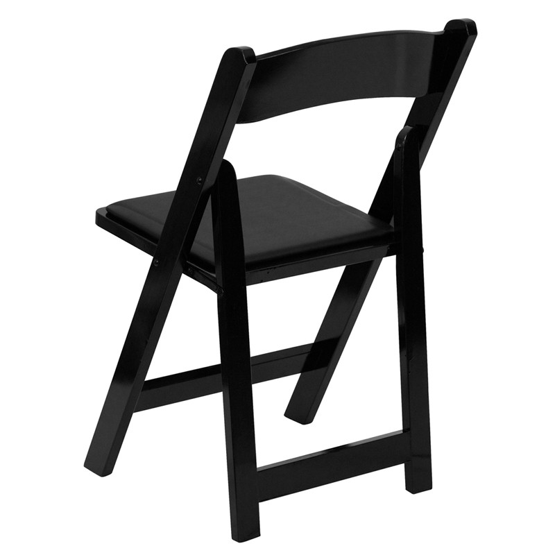 Hercules Black Wood Folding Chair  Padded Vinyl Seat from