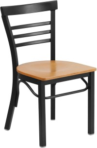 HERCULES Series Black Ladder Back Natural Restaurant Chair ...