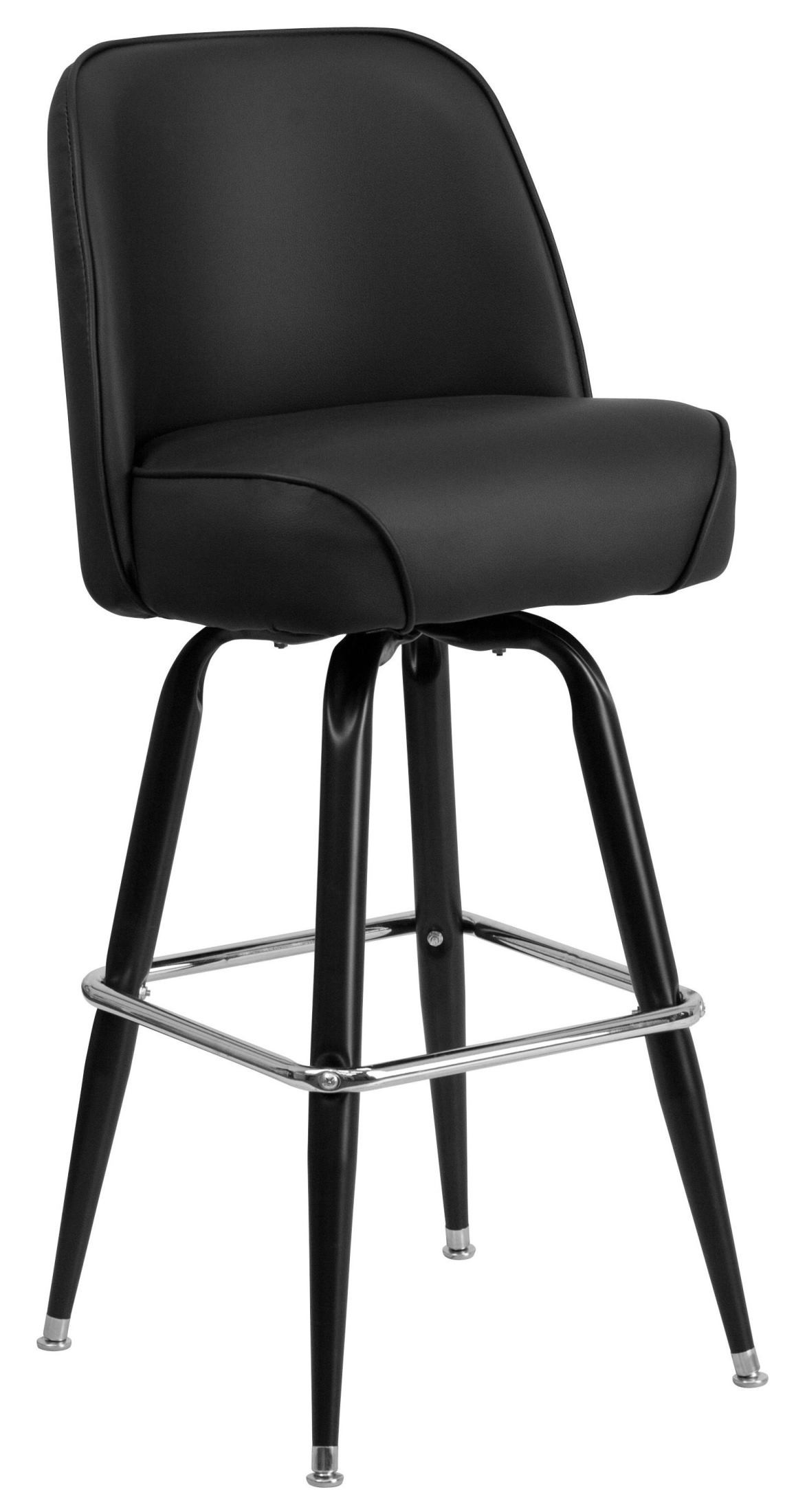 metal bucket chairs black and white striped chair sashes bar stool with swivel seat from