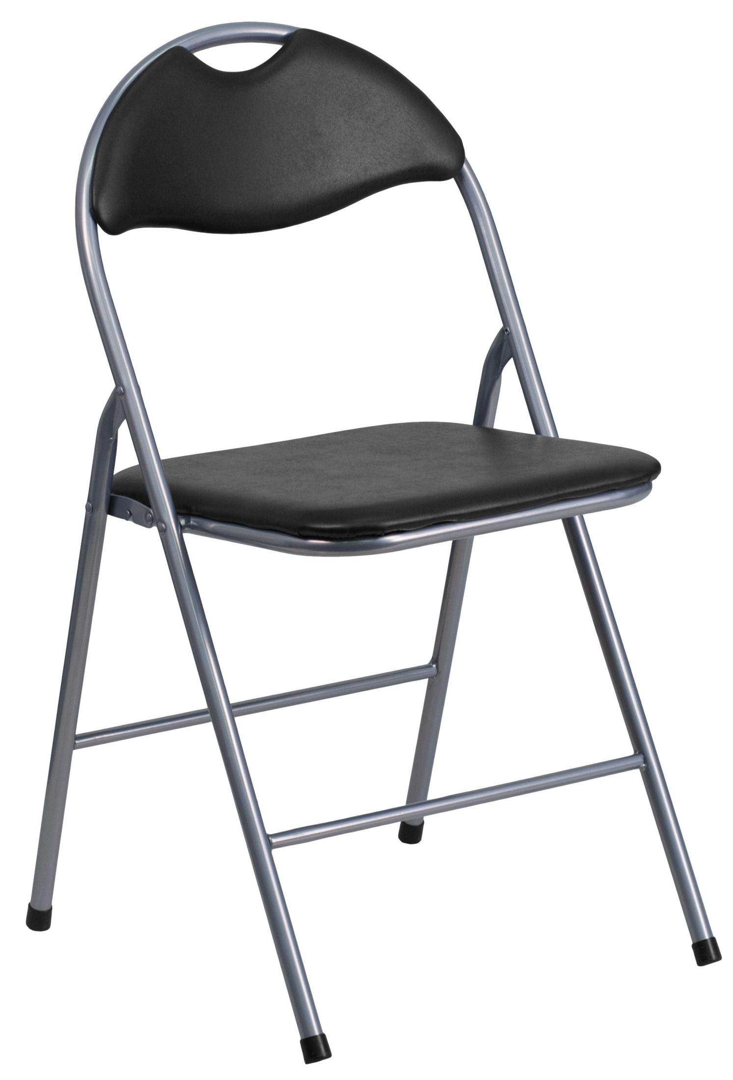 folding chair vinyl padded black leg raises hercules series metal carrying handle