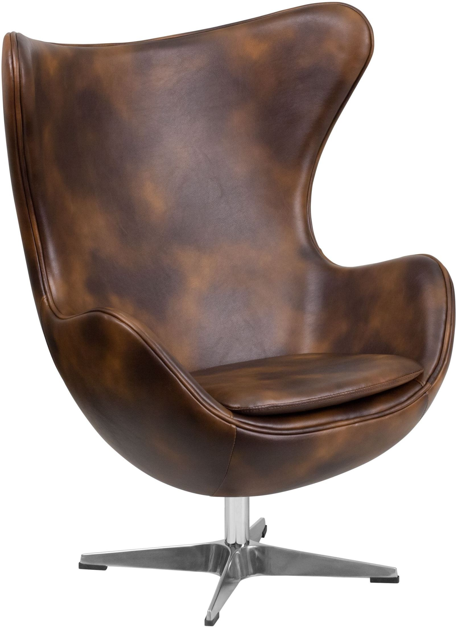 Used Egg Chair Bomber Jacket Leather Egg Chair With Tilt Lock Mechanism
