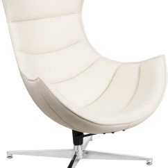 White Leather Swivel Desk Chair Full Recline Zero Gravity With Massage Technology Cocoon From Renegade Coleman