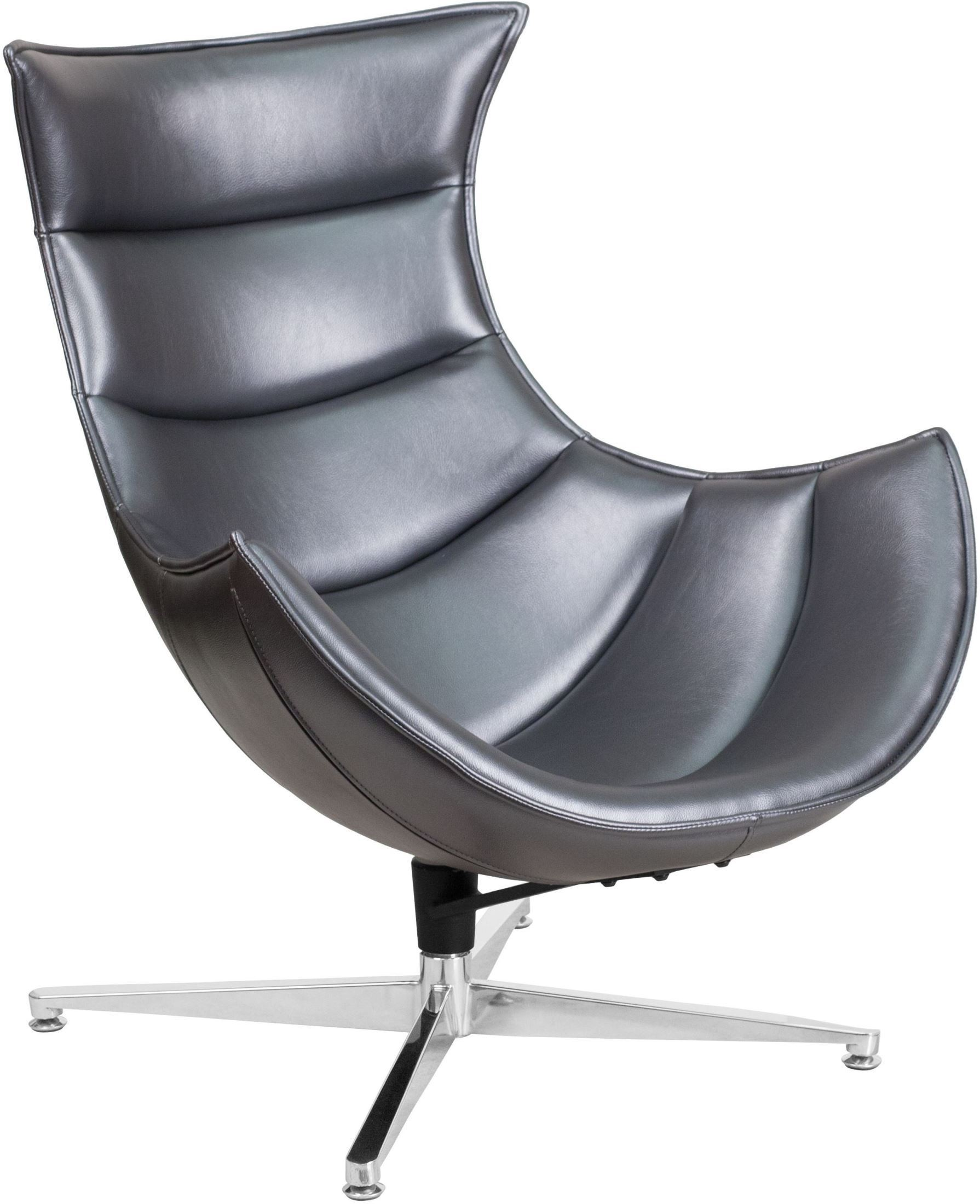 Cocoon Chair Gray Leather Swivel Cocoon Chair Zb 37 Gg Renegade Furniture