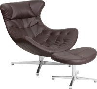 Brown Leather Cocoon Chair with Ottoman from Renegade