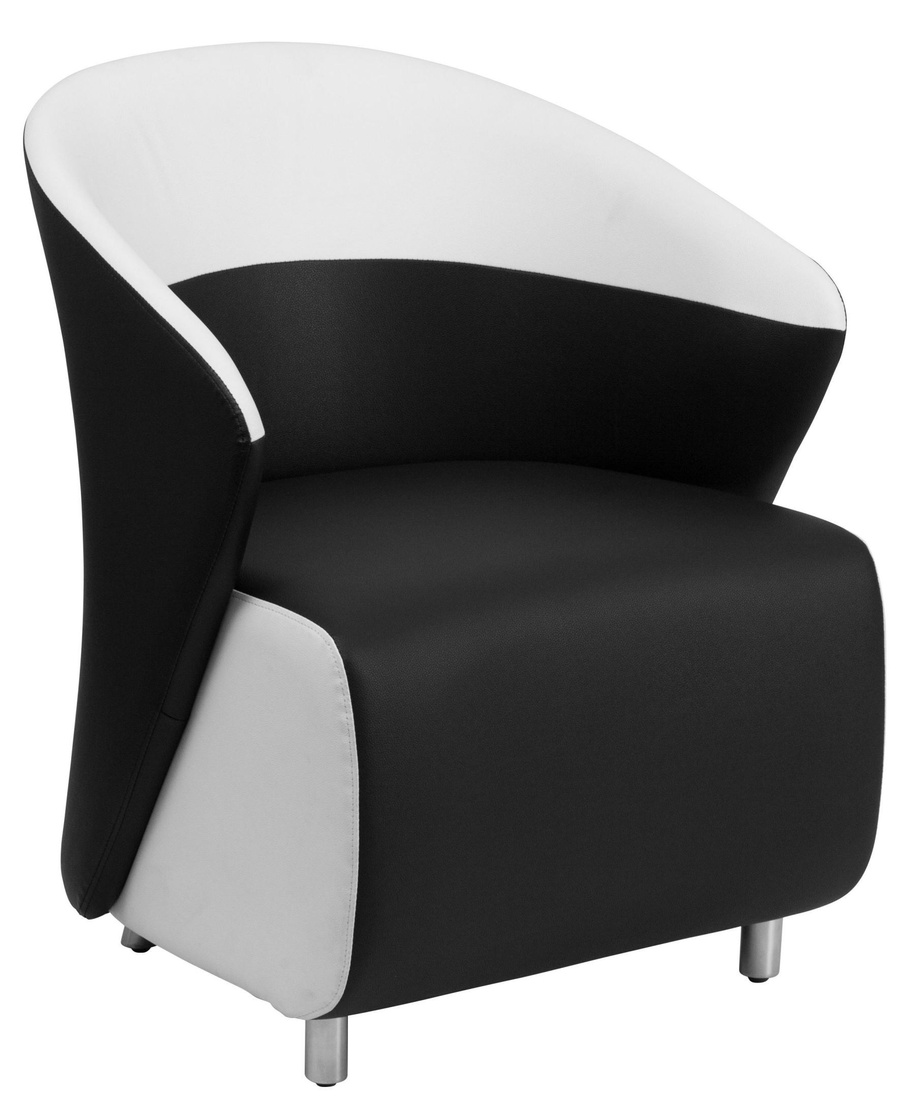 black leather reception chairs small recliner uk chair with white detailing from