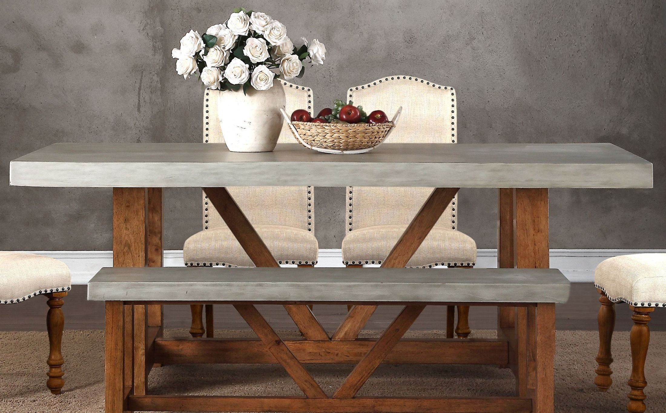Bohemian Gray and Brown 42 Cement Dining Table from