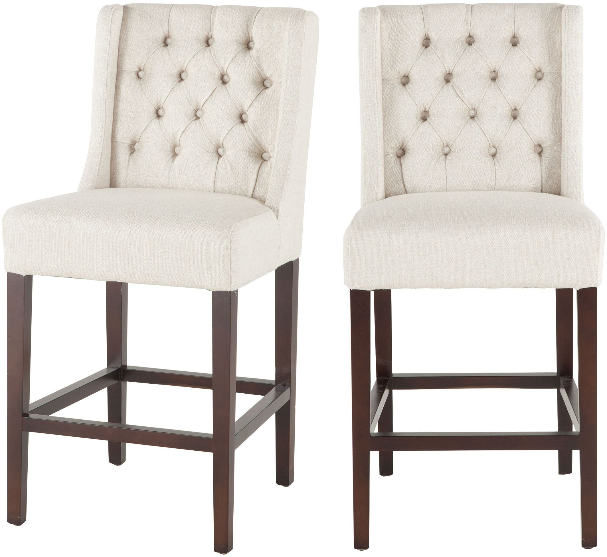 White Counter Height Chairs Chloe Off White Linen Tufted Counter Height Stool Set Of 2
