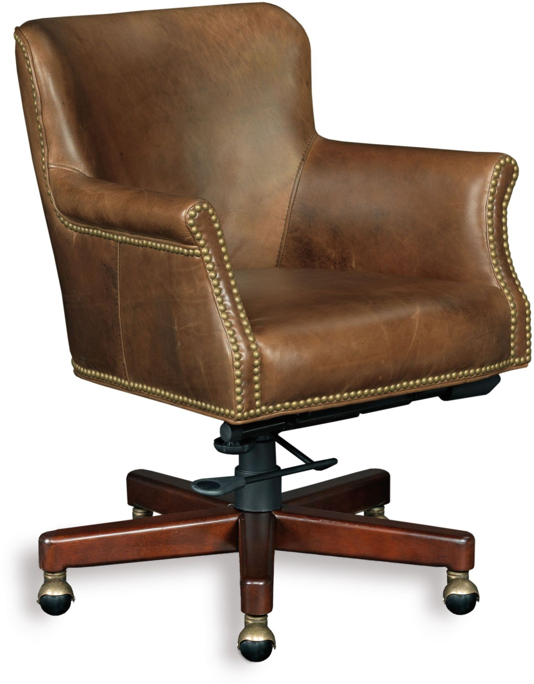 swivel chair brown fishing covers dwight leather tilt from hooker