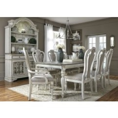Gray Living Room Sets Value City Furniture Dining Coleman Magnolia Manor Antique White 108 Extendable Rectangular Set