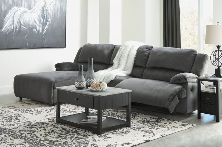clonmel charcoal small reclining laf sectional