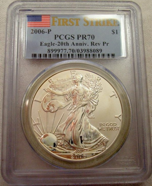 2006- Reverse Proof 20th Anniversary Silver Eagle Pcgs