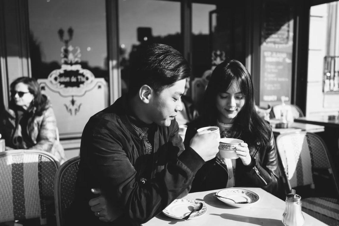 Couple Photography Paris Cafe Coffee shop