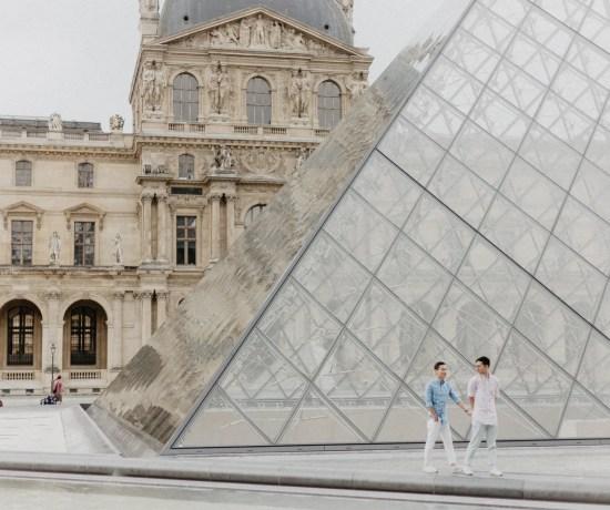 Away We Wow - gay same sex couple photography paris - Louvre Museum travel blogger