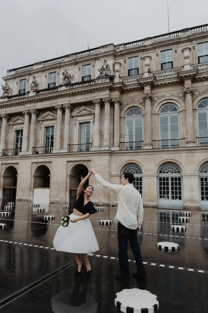 Couple Dancing Rain Palais Royal Paris