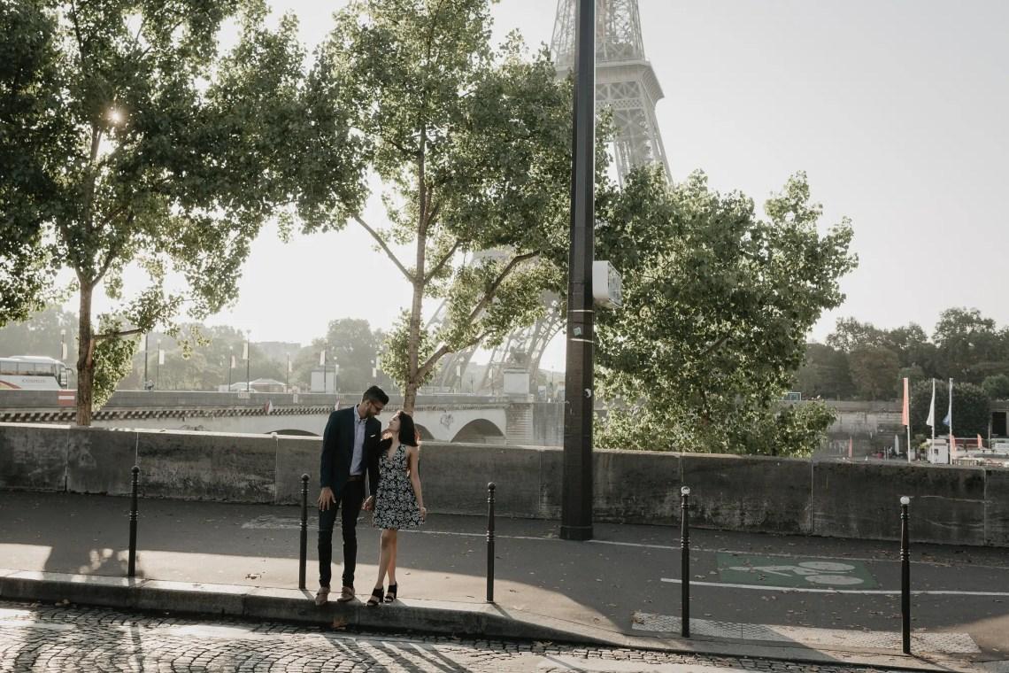 Engagement Paris Photography Eiffel tower Quai de Seine